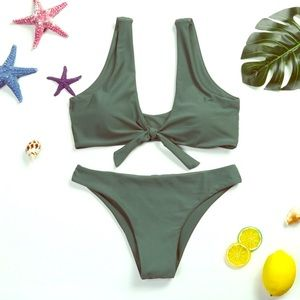 Other - Army Green Scoop Neck Knotted Bikini Set